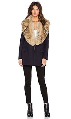 SAM. Charlie Real Natural Coyote Fur Wool Coat in Navy