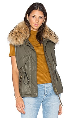 Dakota Vest with Asiatic Raccoon Fur in Army & Natural Raccoon