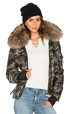 Camo Asiatic Raccoon Fur Freestyle Jacket in Olive Camo & Natural