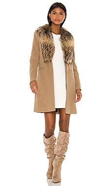 Crosby Jacket with Asiatic Raccoon Fur Trim in Camel & Natural
