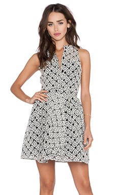 Sam Edelman Button Rom Dress in Black & White