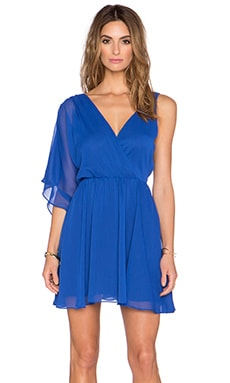 Sam Edelman Asymmetrical Deep V Dress in Cobalt