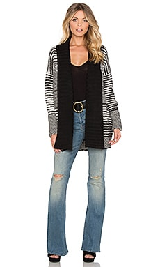 Sam Edelman Berkley Jacquard Cardigan in Black & Ivory
