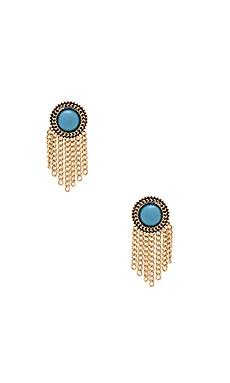 Sam Edelman Fringe Stud Earring in Gold & Turquoise