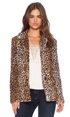 Sam Edelman Leopard Faux Fur Coat in Leopard