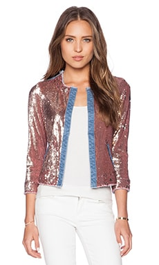 Sam Edelman Sequin & Denim Jacket in Blue