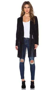 Sam Edelman Frankie Faux Suede Fringe Jacket in Black