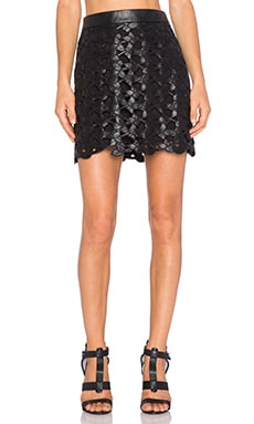 Emma Floral Faux Leather Skirt in Black