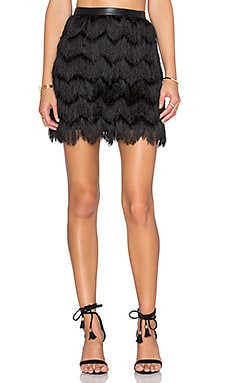 Fiona Feather Fringe Mini Skirt in Black