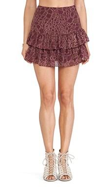 Sam Edelman Croc Print Ruffle Skirt in Russet