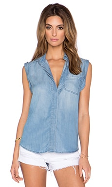 Sam Edelman Collared Cap Sleeve Blouse in Blue