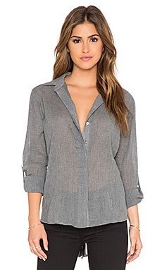Sam Edelman Kylie Zip Back Slit Button Up in Heather Grey