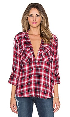 Sam Edelman Riley Plaid Split Back Top in Crimson