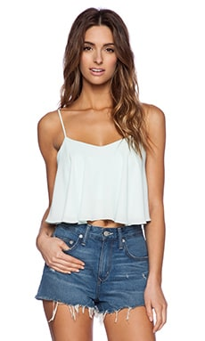 Sam Edelman Cropped Flounce Tank in Sea Glass
