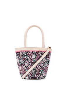 Irene Embroidered Satchel in Multi & Ivory