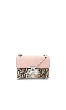 Sissy Shoulder Bag en Pink, Python, & Winter White