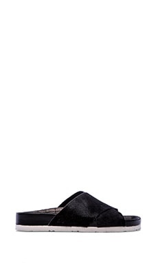 Adora Sandal with Calf Fur in Black Brahma