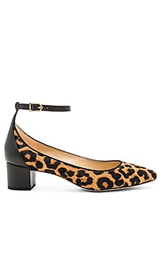 Lola Leopard Calf Hair Heel in Brown & Black