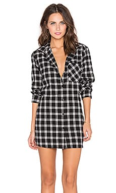 Sanctuary Nevermind Dress in Black & White Plaid