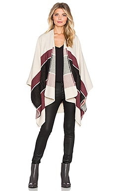 Sanctuary Blanket Wrap in Moonrise & Mulberry & Charcoal Stripe