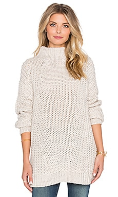 Oval Mock Neck Sweater in Silver