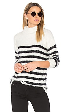 Oversized Mock Sweater in Black & Winter White Stripe
