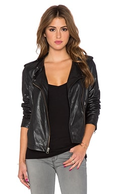Sanctuary Vintage Inspired Leather Moto Jacket in Black