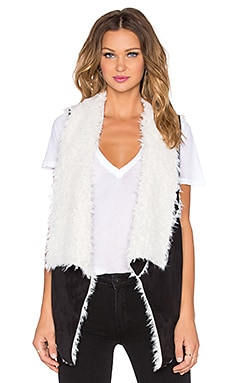 Sanctuary Voila Faux Fur Vest in Black & Natural