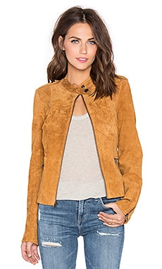Sanctuary Suede Moto Jacket in Light Maple