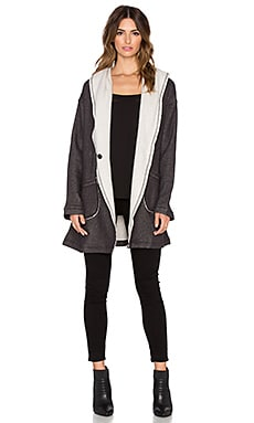 Sanctuary Fleece Wrap Jacket in Charcoal & Natural