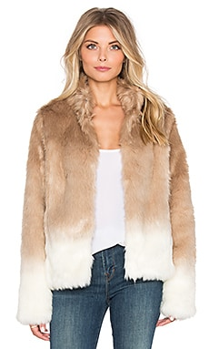 Faux Fur Chubby Funnel Neck Bomber in Ombre Praline