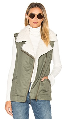 Alexis Faux Fur Trimmed Vest in Military