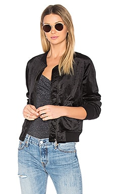 Velvet Bomber Jacket in Black