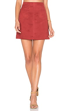 Serina Faux Suede Skirt in Brooklyn Brick