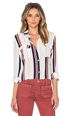Sanctuary Silk Tailored Boyfriend Shirt in Marquis Stripe