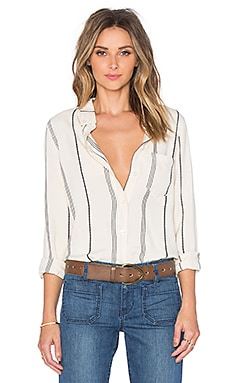 Sanctuary Tailored Boyfriend Shirt in Milk Ticking Stripe