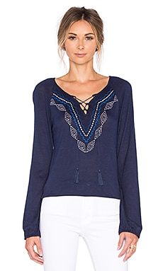 Sanctuary Lace Up Boho Top in Marine