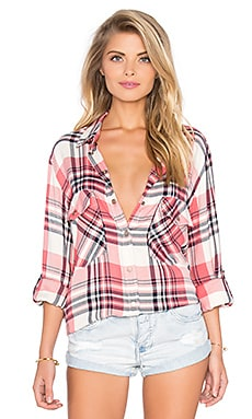 Sanctuary Boyfriend Shirt in Bright Marsala Plaid