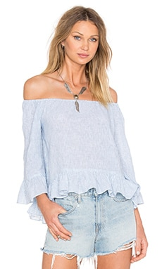 Julia Off the Shoulder Top in Sunbleached Stripe