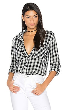 Steady Boyfriend Button Up in Black & White Buffalo Check