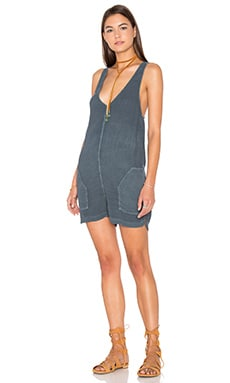 Nikita Romper in Dark Denim Blue Sandy Rayon