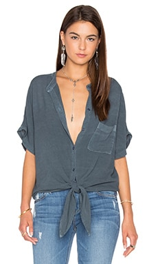 Shirley Top in Dark Denim Blue Sandy Rayon