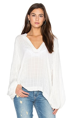 Olivia Top in Pearled Ivory Fiji Plaid