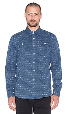 SATURDAYS NYC Angus Jacquard Button Up in Navy