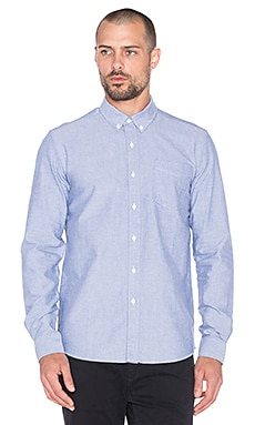 SATURDAYS NYC Crosby Oxford Button Up in Cobalt