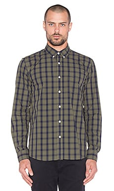 SATURDAYS NYC Crosby Rip Check Button Up in Dark Olive