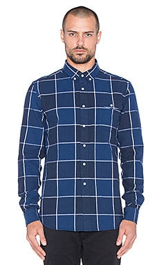 SATURDAYS NYC Dorian Buffalo Check Button Up in Navy
