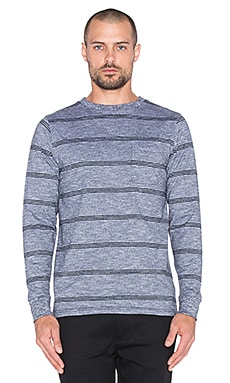 SATURDAYS NYC James Marled Stripe Tee in Black Marled