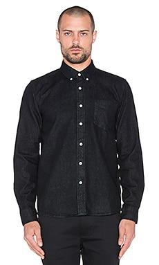 SATURDAYS NYC Crosby Denim Button Up in Washed Black