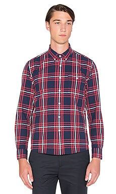 SATURDAYS NYC Dorian Forest Plaid Button Down in Navy Marled